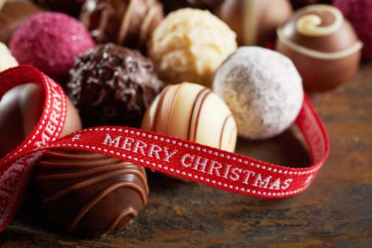 Luxury chocolate Merry Christmas background