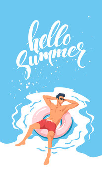 Summer time. Happy vacation. Young man swimming on pink inflatable circle. Vector illustration.