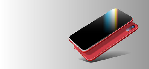 Red Beautiful Modern Imaginary Smart Phone Cast Shadow on Grey Gradient Background. Perspective view. Realistic Vector. Smartphone with Touchscreen Mockup. Template of Mobile Phone for Mobile Apps.