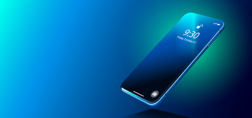Blue Realistic Smart Phone on Smooth Dark Blue Surface in Perspective View. Realistic Vector Illustration of Smartphone. New Visionary Shiny Mobile Cellphone with Reflection on the Screen.