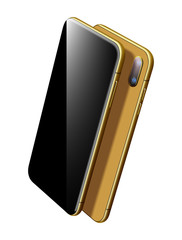 Vector Gold Smartphone Vector Mockup. Can use for Printing, Website, Presentation Element. for App Demo on Phone. Modern Mobile Phone on White.