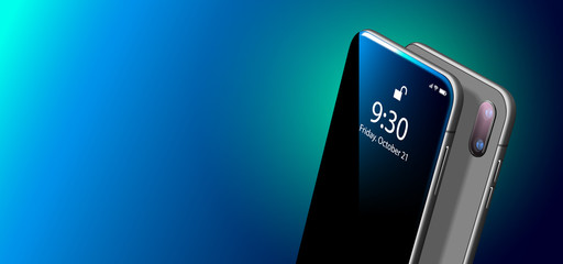 Set Mock-up of Modern Black Smart Phone on Smooth Dark Blue Surface in Perspective View. Realistic Vector Illustration of Smartphone. New Shiny Mobile Cellphone with Reflection on the Screen