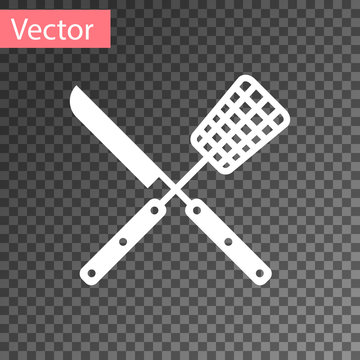 White Crossed fork and knife icon isolated on transparent background. BBQ fork and knife sign. Barbecue and grill tools. Vector Illustration