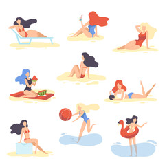 Collection Beautiful Girls in Swimsuits Relaxing on Beach, Young Women on Summer Vacation Vector Illustration