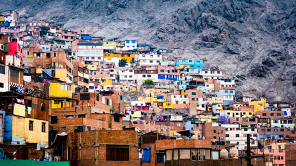 Different colorful slum buildings in Lima, Peru