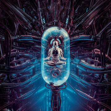 The human pod meditation / 3D illustration of science fiction scene showing human male figure in lotus position inside complex futuristic incubator cloning machinery