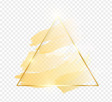 Gold shiny glowing triangle frame with golden brush strokes isolated on transparent background. Golden luxury line border for invitation, card, sale, fashion, wedding, photo etc. Vector illustration
