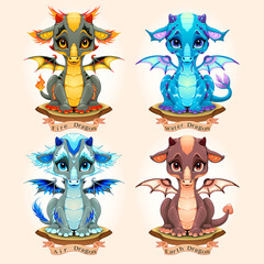 Papiers peints Chambre d enfant Collection of four natural element baby dragons, Fire, Water, Air and Earth