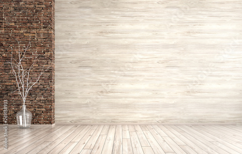 Interior of empty room background 3d render