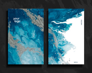 Set of abstract painted background, flyer, business card, brochure, poster, for printing. Trend vector. Liquid marble.