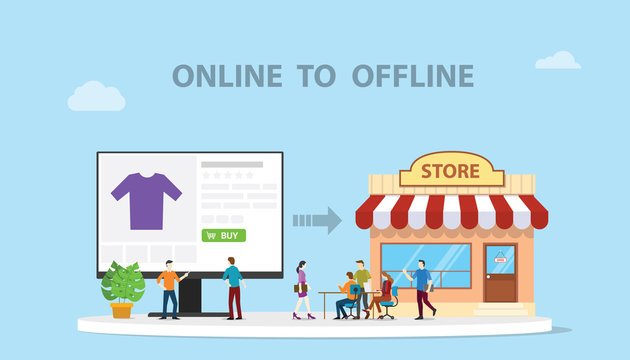 o2o online to offline e-commerce new concept technology with store and website online modern style illustration - vector