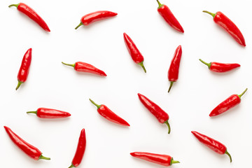 Poster de jardin Hot chili Peppers Chili or chilli cayenne pepper isolated on white background cutout.