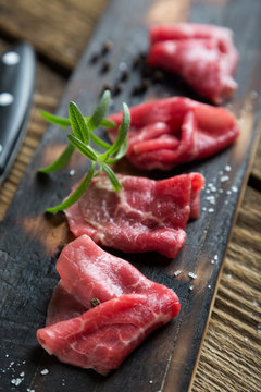 Thinly sliced beef pieces. beef carpaccio