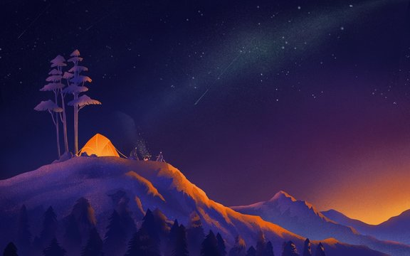 illustration landscape of  journey travel adventure in night sky