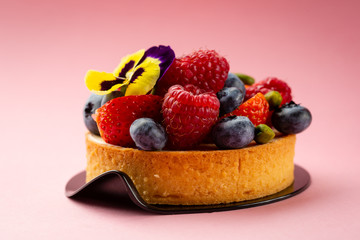 Summer dessert with berry, food close-up