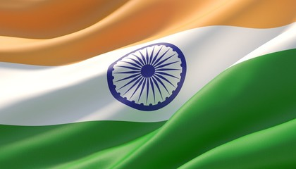 Waved highly detailed close-up flag of India. 3D illustration.