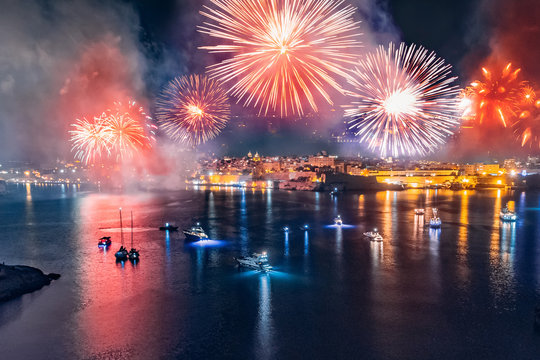 Malta fireworks festival in Valletta. Concept travel. Aerial photo