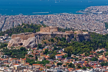 Greece, Athens panoramic view with parthenon temple on acropolis hill and Plaka old neighborhood
