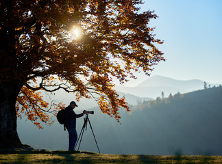 Hiker with backpack and professional camera on tripod standing on grassy valley under large tree with golden leaves on background of woody misty mountains panorama and bright sun in blue sky.