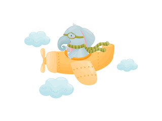 Humanized baby elephant is flying in an airplane. Vector illustration on white background.