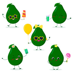 A set of five Kawaii cute avocado fruit in cartoon style. In glasses with ice cream, with a balloon, with a lollipop, with juice, with a selfie phone. Flat, Vector illustration