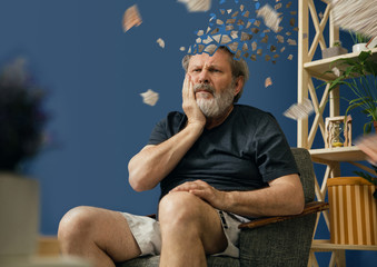 Drown image of losing of mind. Old bearded man with alzheimer desease suffering from teeth pain. Illness, memory loss due to dementia, healthcare, neurological disorder, depression. Wall mural