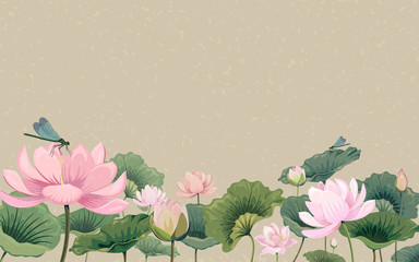 Illustration with lotus flowers and dragonflies Fototapete