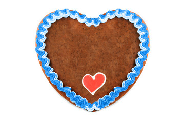 Oktoberfest Gingerbread heart cookie with ornaments and copy space