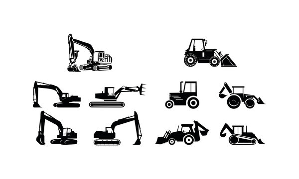Heavy equipment set template vector