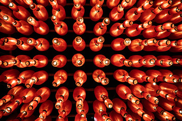 Red Asian Lamps at the Phuket Vegetarian Festival in Thailand, Asia