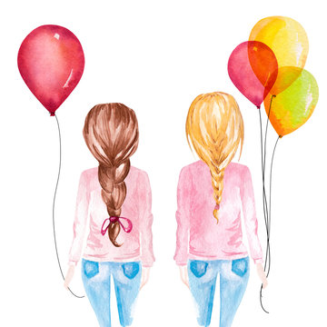 Hand drawn watercolor illustration of girls holding colorful balloons