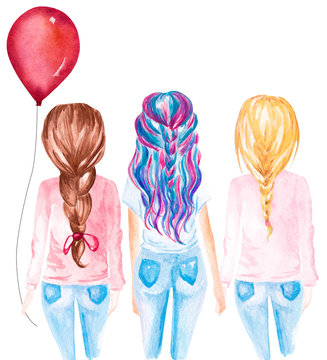 Hand drawn watercolor illustration of friends holding red balloon