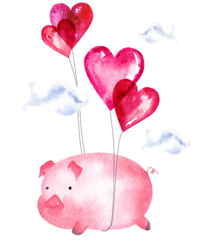 Hand drawn watercolor pink pig flying on air balloons. Artistic print design isolated on white background