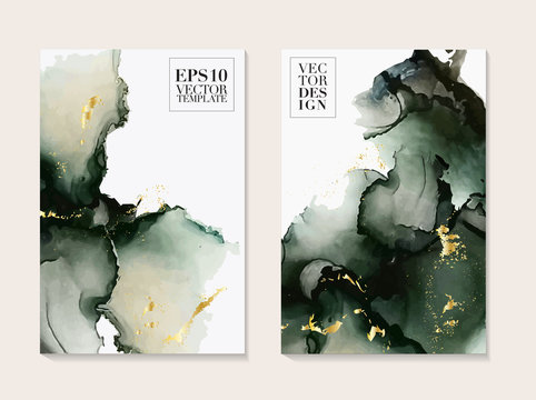 Abstract liquid paint in deep green colors. Modern poster with alcohol ink splashes. Liquid flow design for advertising, banner, poster, social media post, business template. Vector.