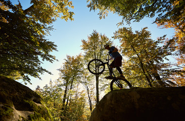 Professional sportsman biker balancing on back wheel on trial bike, cycler making acrobatic trick on the edge of big boulder in the forest on sunny day. Concept of extreme sport active lifestyle