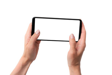 Mock up of black smartphone in hands for your design isolated on a white background