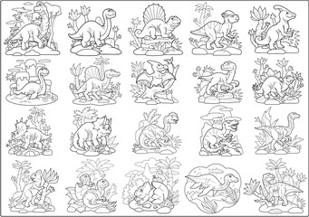 cartoon prehistoric dinosaurs, set of images, coloring book