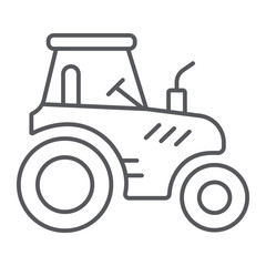 Tractor thin line icon, transportation and agriculture, harvest machine sign, vector graphics, a linear pattern on a white background.