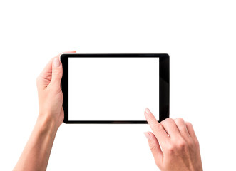 Top view of girl using tablet isolated on a white background