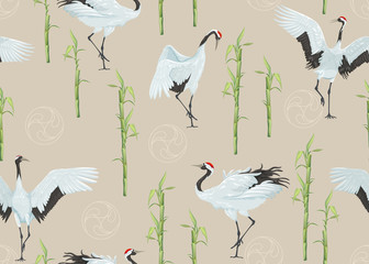 Seamless pattern with japanese cranes and bamboo