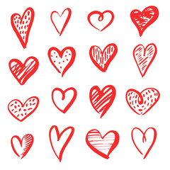 Set of red grunge hearts, vector heart hand drawn shapes. Draw grunge love texture design.