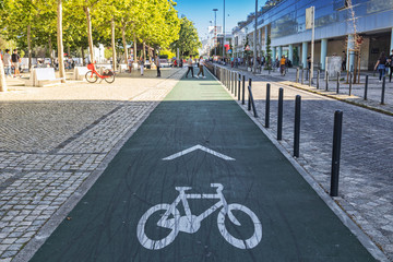 PORTUGAL/LISBON - 5MAY2019 - Bicycle lane for bicycles in the park of Nations Lisboa.Portugal.