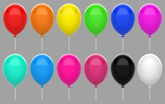 3d rendering. Colorful floating balloon set collection with clipping path isolated on gray background.