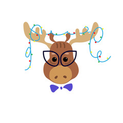 Fashionable moose with Christmas garland on horns. Cute cartoon character. Cool picture is great for children's products: clothes, textiles, postcards, stationery products and other things