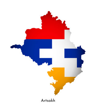 Vector illustration with Artsakh (Nagorno-Karabakh Republic) national flag with shape of this map (simplified). Volume shadow on the map
