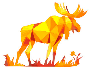 amber color, one moose stands, isolated images on white background in low poly style