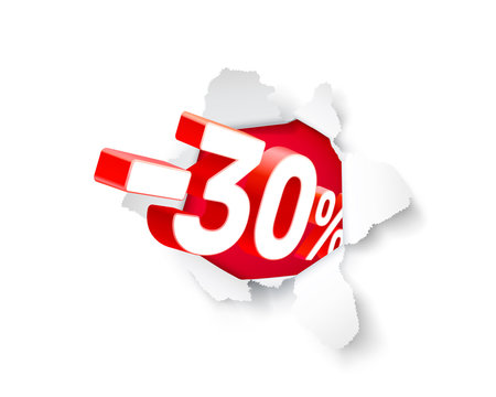 Paper explosion banner 30 off with share discount percentage.