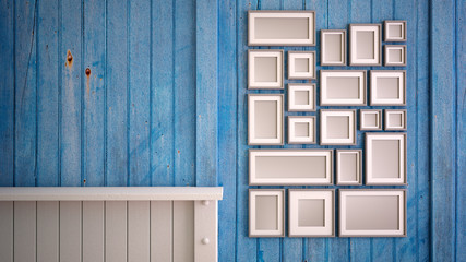 Mock up picture frame arrangement blue and white