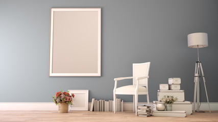 Mock up poster frame in home decor gray