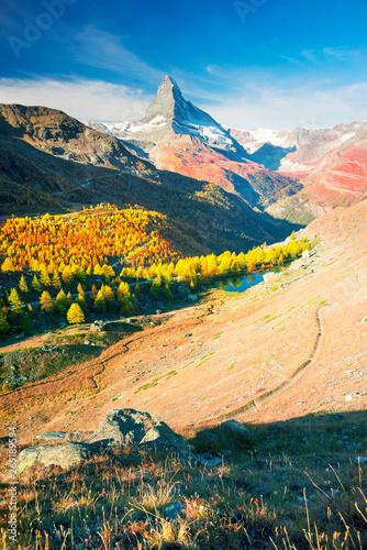 Wall mural Matterhorn slopes in autumn